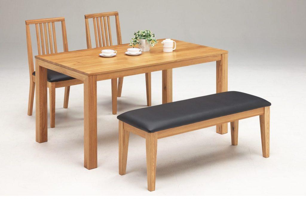 テーブル幅135㎝ チェア✕2脚 ベンチ幅110㎝