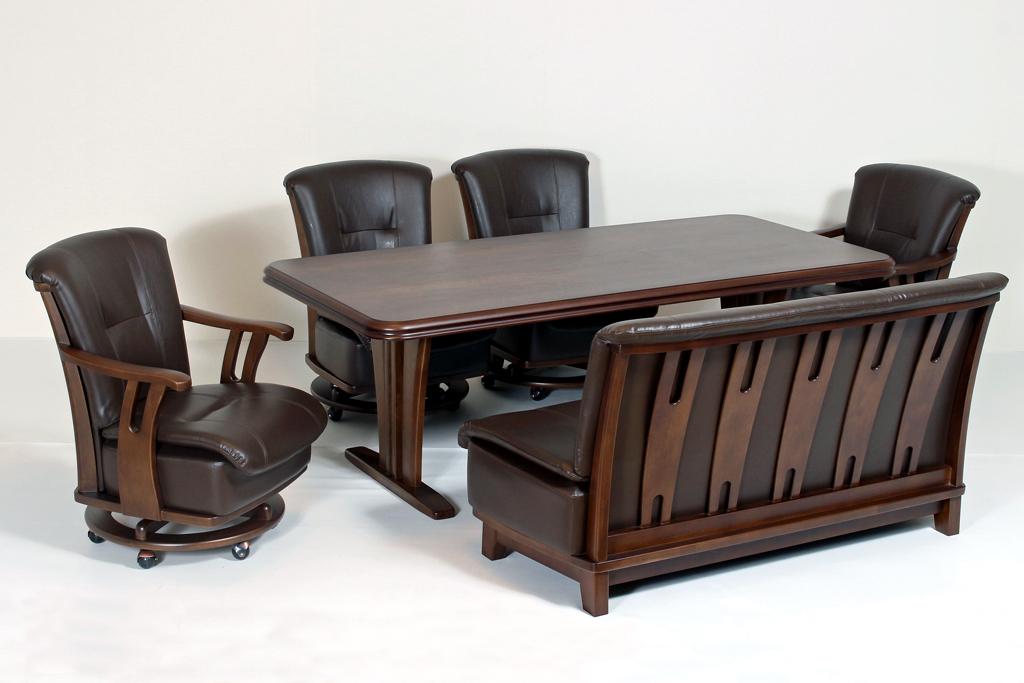 テーブル幅195㎝ 肘無チェア✕2脚 肘付チェア✕2脚 2人掛けソファ✕1 ダークブラウン色