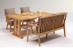 テーブル幅150㎝+背付ベンチ135+肘付回転チェア ナチュラル色