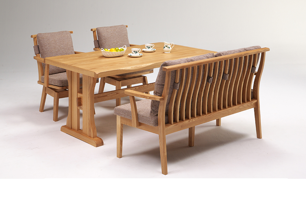 テーブル150+背付ベンチ135+肘付回転チェア ナチュラル