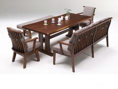 テーブル幅200㎝+背付ベンチ180+ベンチ160+肘付回転チェア ブラウン色
