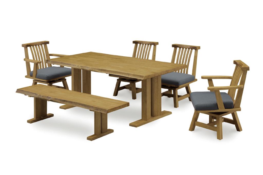 テーブル幅180㎝ ベンチ幅160 肘無チェア✕2脚 肘付チェア✕2脚