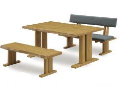 テーブル幅150㎝ 背付ベンチ幅130㎝ ベンチ幅130㎝