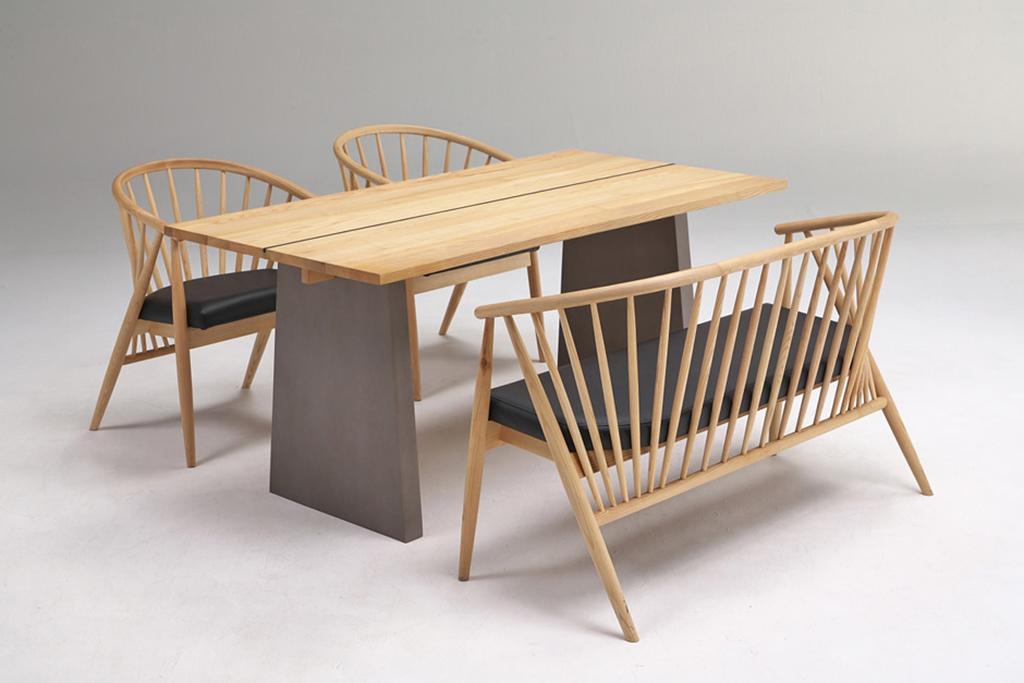 テーブル幅150㎝ チェア✕2脚 2人掛けチェア