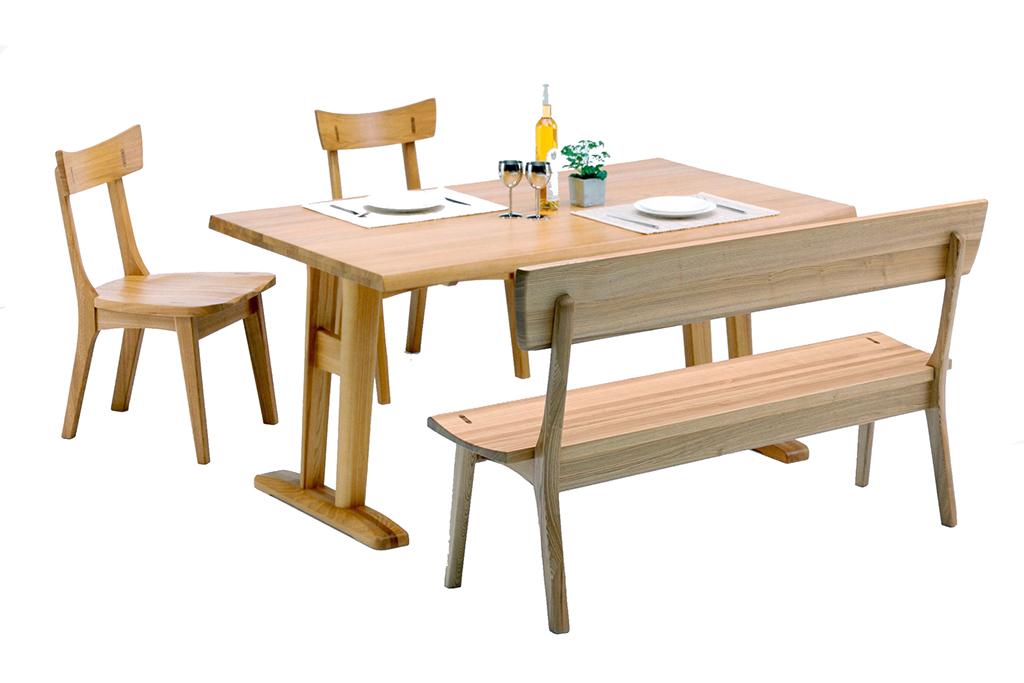 テーブル幅150T脚+チェア2脚+背付ベンチ
