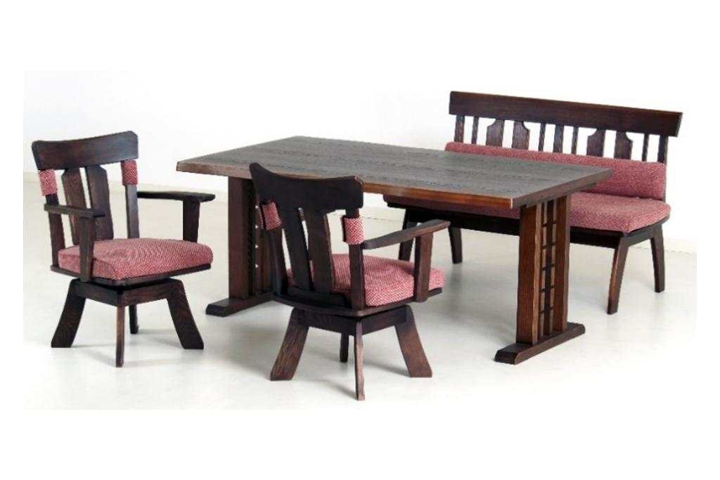 テーブル幅150㎝・回転チェア✕2脚・背付ベンチ