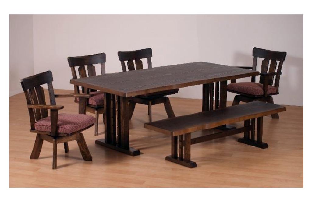 テーブル幅180㎝・回転チェア✕4脚・ベンチL_幅150㎝