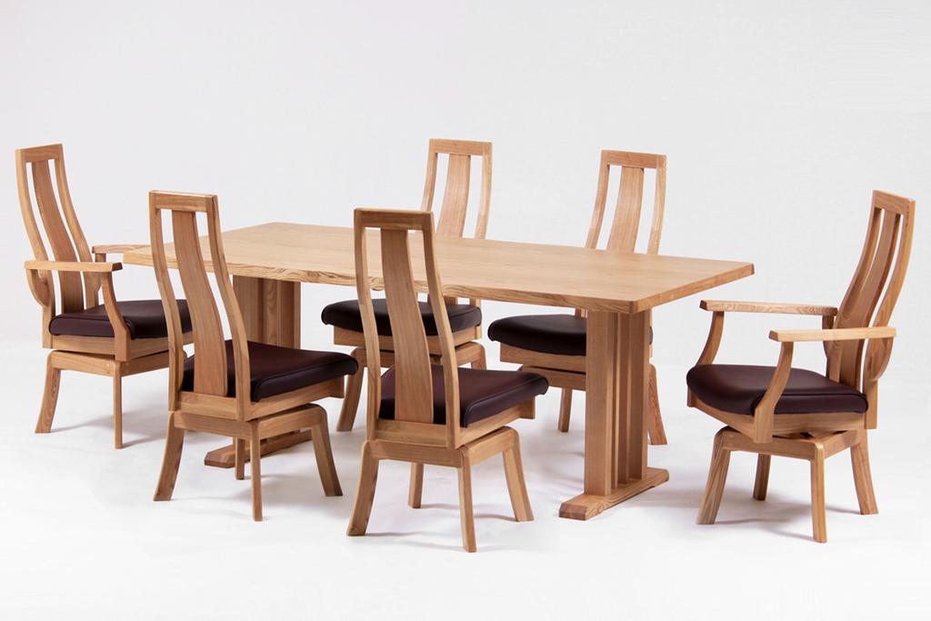 テーブル幅180㎝・肘付回転チェア✕2脚・回転チェア✕4脚