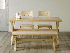 テーブル幅140㎝ チェア✕2脚 ベンチ幅110㎝