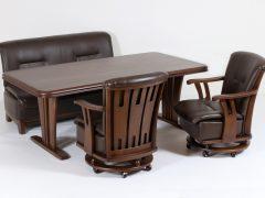 テーブル幅165㎝ 肘付チェア✕2脚 2人掛けソファ✕1 ダークブラウン色